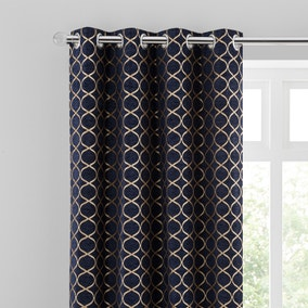 Chenille Ogee Navy Eyelet Curtains