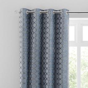 Chenille Ogee Ashley Blue Eyelet Curtains