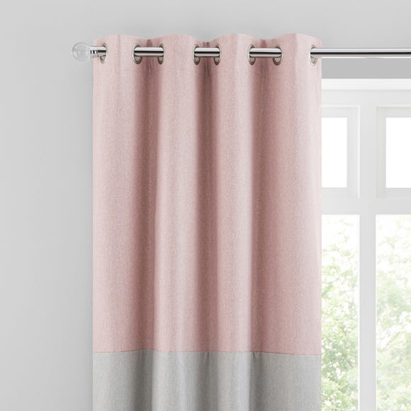 Luna Block Blackout Eyelet Curtain Blush and Dove Grey  undefined