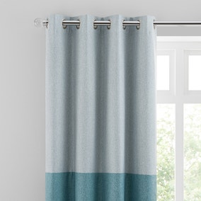 Luna Block Blackout Eyelet Curtain Duck Egg and Teal