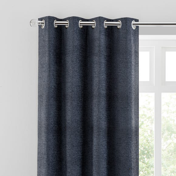 Oxford Navy Chenille Eyelet Curtains  undefined