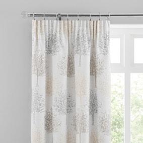 Jacquard Trees Dove Grey Pencil Pleat Curtains