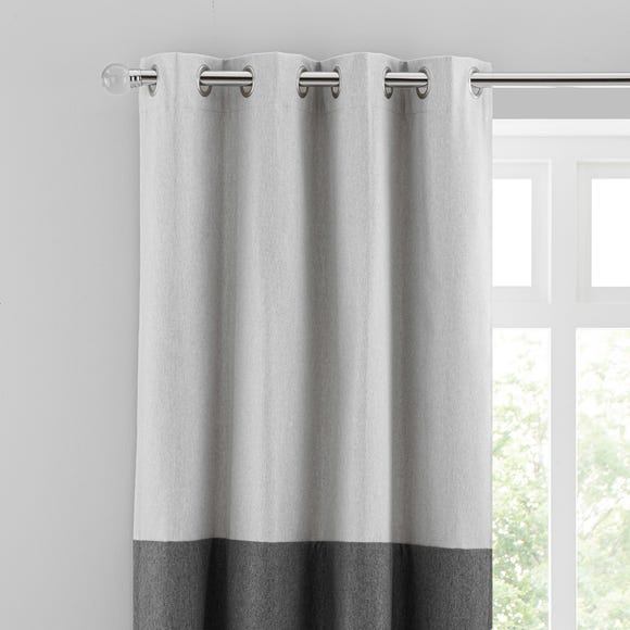 Luna Block Blackout Eyelet Curtain Dove Grey and Charcoal  undefined