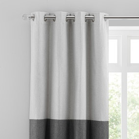 Luna Block Blackout Eyelet Curtain Dove Grey and Charcoal