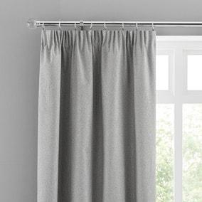 Luna Mid Grey Blackout Pencil Pleat Curtains