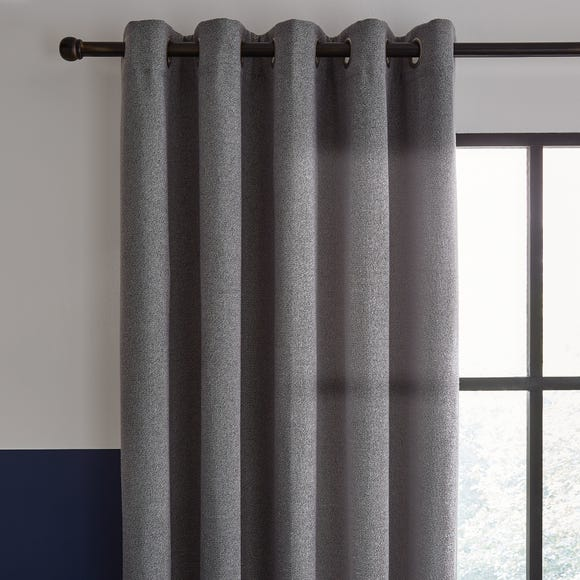 Elements Boucle with Recycled Yarn Grey Eyelet Curtains  undefined