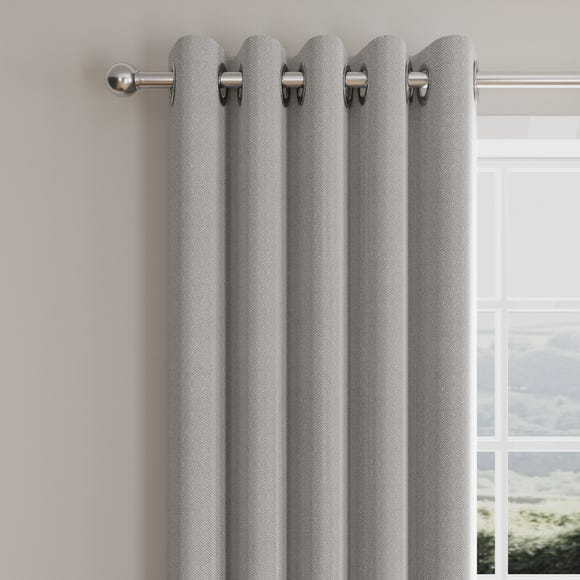Morgan Herringbone Grey Lined Eyelet Curtains  undefined