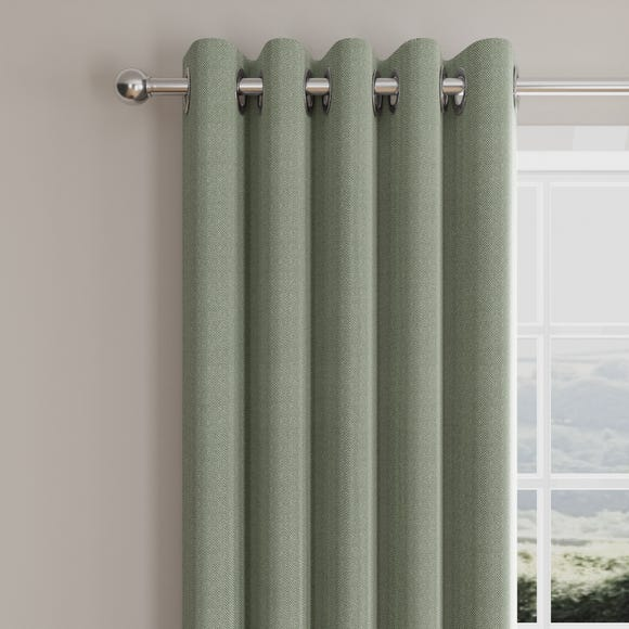 Morgan Herringbone Green Lined Eyelet Curtains  undefined