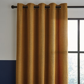 Elements Boucle Old Gold Eyelet Curtains