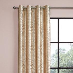 Velvet Geo Foil Cream Eyelet Curtains