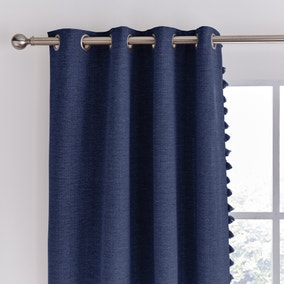 Tassel Navy Eyelet Curtains
