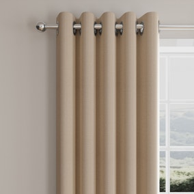 Morgan Herringbone Natural Lined Eyelet Curtains