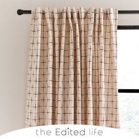 Nomadic Check Unlined Ecru Hidden Tab Top Curtains