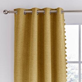 Tassel Old Gold Eyelet Curtains