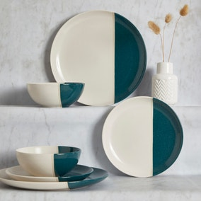 Elements Dipped Teal 12 Piece Dinner Set