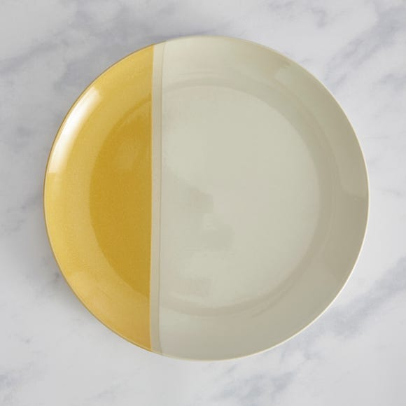 Elements Dipped Dinner Plate Ochre Ochre