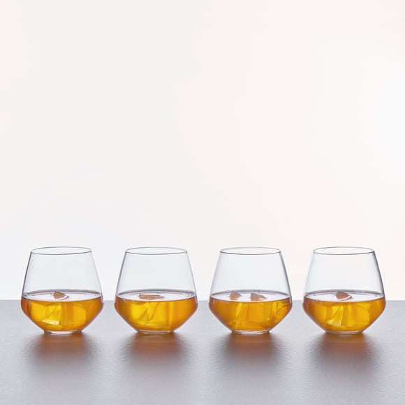 Set of 4 Connoisseur Crystal Glass Tumblers Clear