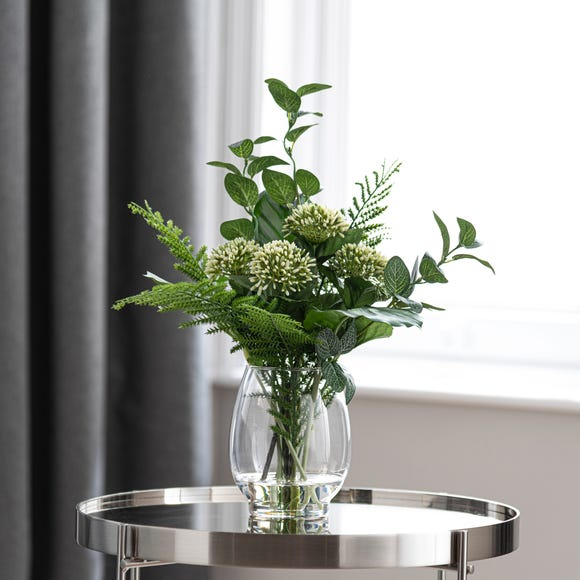 Artificial Allium and Foliage in Vase Green
