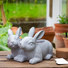 Grow Your Own Flowers with Duo of Rabbits Planter