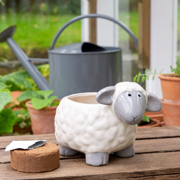 Grow Your Own Mint with Sheep Planter  White