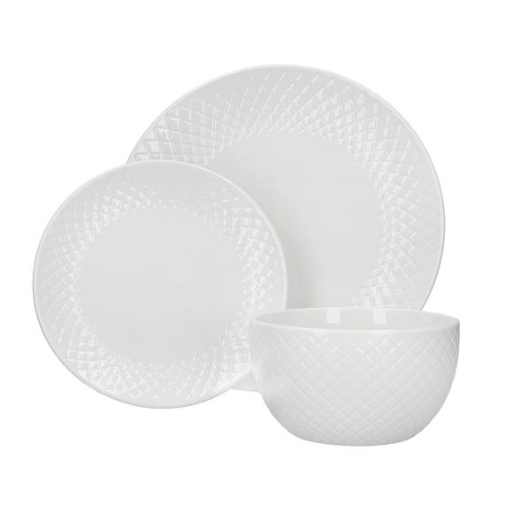 Quilted White 12 Piece Dinner Set White