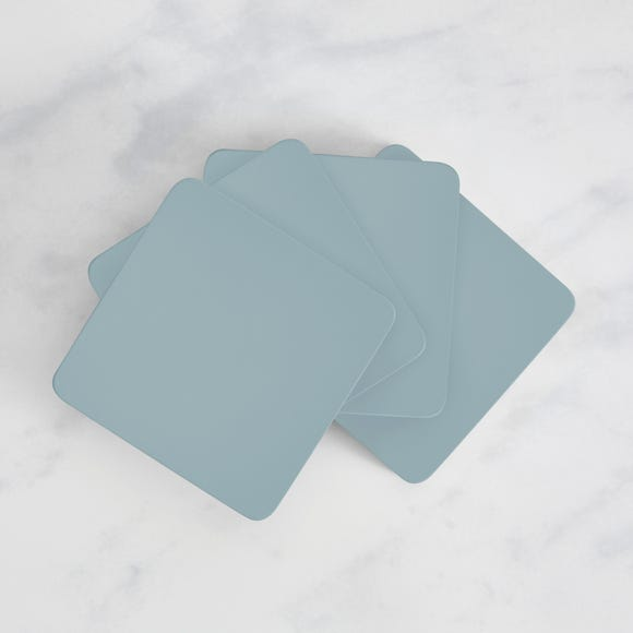 Painted Wooden Coasters Set of 4  Ashley Blue