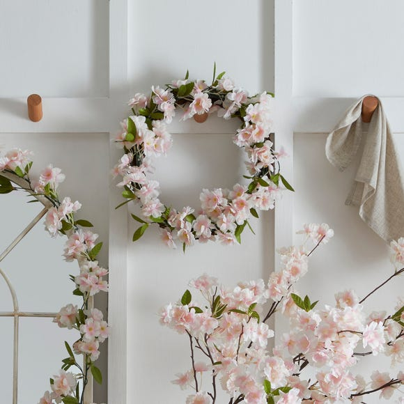 Apple Blossom Wreath White