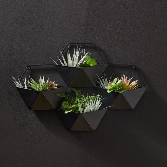 Elements Black Hexagonal Outdoor Wall Planter Black