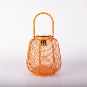 Elements LED Solar Orange Outdoor Metal Lantern