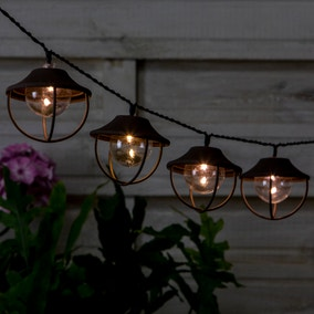 10 Bulb LED Solar Rust Outdoor Metal String Lights