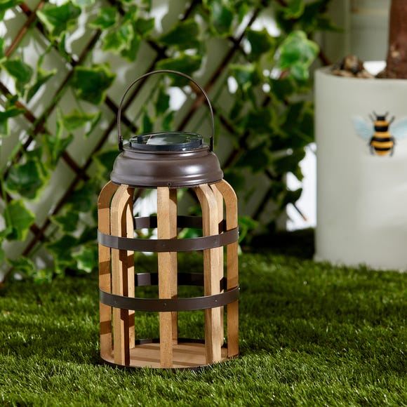 Wooden and Metal Outdoor Solar Lantern Wood (Brown)