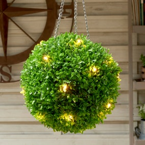 Artificial Green Per Lit Topiary Ball