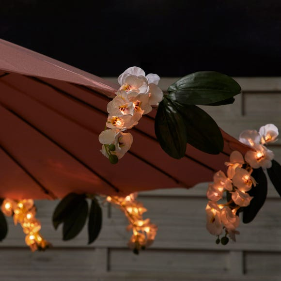 Set of 6 LED Solar White Outdoor Orchid Cluster Lights White