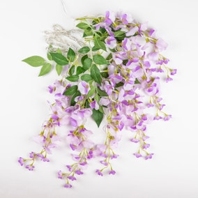 Set of 6 LED Solar Purple Outdoor Wisteria Cluster Lights