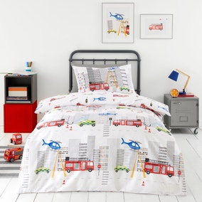 Emergency Services Reversible 100% Cotton Duvet Cover and Pillowcase Set