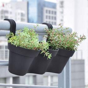 Elements Set of 3 Plastic Black Handrail Plant Pots