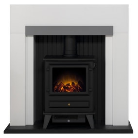 Salzburg Electric Stove with White and Grey Surround