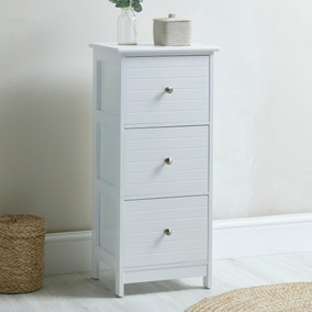 Nautical 3 Drawer Unit with Nickel Handles