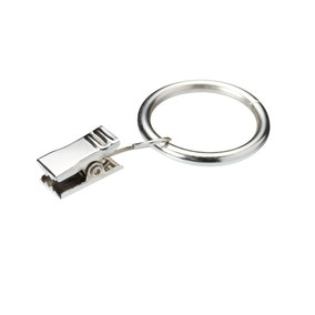 Pack of 6 Satin Steel Curtain Rings with Clips Dia. 25mm