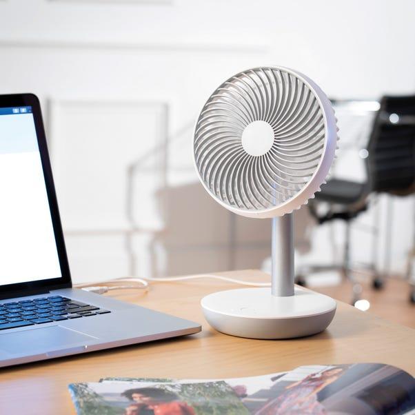 "6"" White Rechargeable USB Desk Fan White"