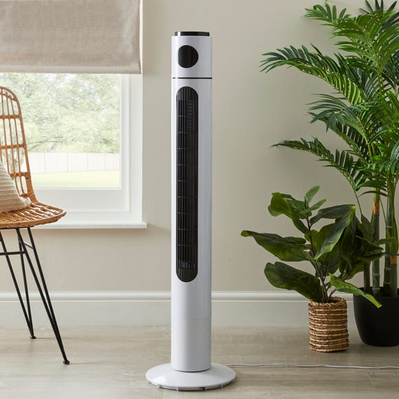 """42"""" White Digital Tower Fan with Remote White"""