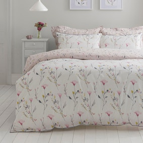 Fiori Pink Floral Reversible Duvet Cover and Pillowcase Set
