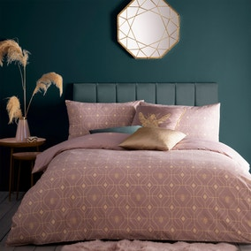 Furn. Pink and Gold Bee Deco Reversible Duvet Cover and Pillowcase Set
