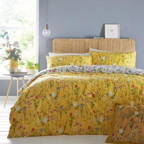 Furn. Fleura Reversible Yellow Duvet Cover and Pillowcase Set