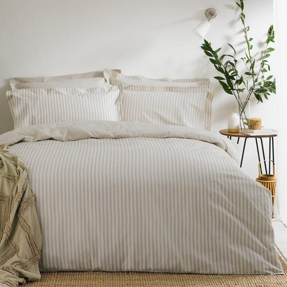 The Linen Yard Hebden Reversible 100% Cotton Natural Duvet Cover and Pillowcase Set  undefined