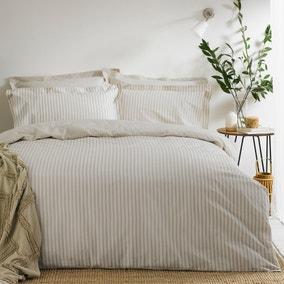 The Linen Yard Hebden Reversible 100% Cotton Natural Duvet Cover and Pillowcase Set