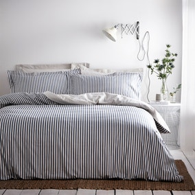 The Linen Yard Hebden Reversible 100% Cotton Navy Duvet Cover and Pillowcase Set
