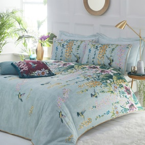 Paoletti Hanging Gardens Reversible 100% Cotton Duvet Cover and Pillowcase Set