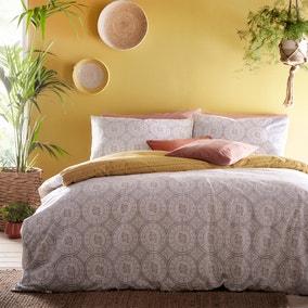 Furn. Mandala Grey and Yellow Reversible Duvet Cover and Pillowcase Set