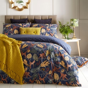 Monkey Forest Navy Reversible Duvet Cover and Pillowcase Set